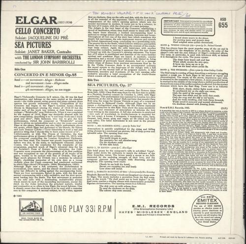 Edward Elgar Cello Concerto / Sea Pictures - 2nd vinyl LP album (LP record) UK EFDLPCE723488