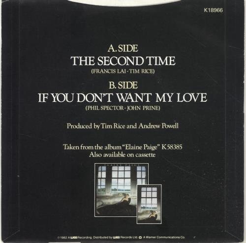 """Elaine Paige If You Don't Want My Love 7"""" vinyl single (7 inch record) UK EPG07IF694274"""