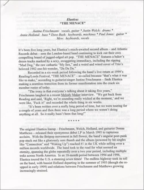 Elastica The Menace media press pack US ELAPPTH165359