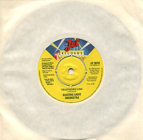 "Electric Light Orchestra Telephone Line 7"" vinyl single (7 inch record) UK ELO07TE242424"