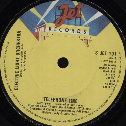 "Electric Light Orchestra Telephone Line 7"" vinyl single (7 inch record) UK ELO07TE670657"