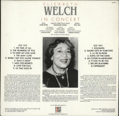 Elisabeth Welch In Concert vinyl LP album (LP record) UK F8YLPIN705788