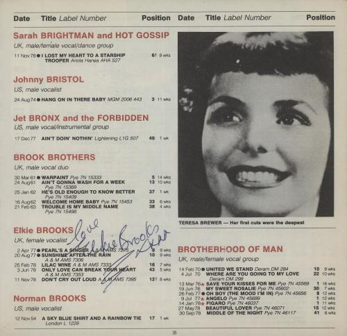 Elkie Brooks Page From The Guinness Book Of British Hit Singles memorabilia UK EKBMMPA659133