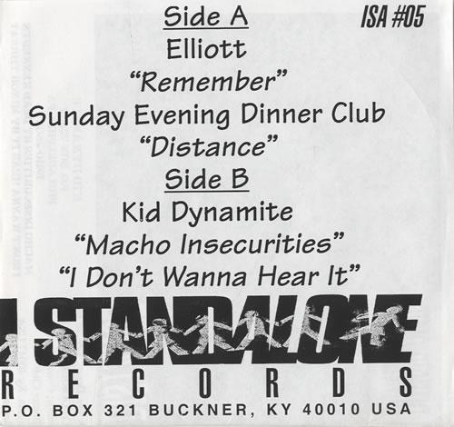 "Elliott I Stand Alone Sampler + Fanzine 7"" vinyl single (7 inch record) US EQM07IS564900"