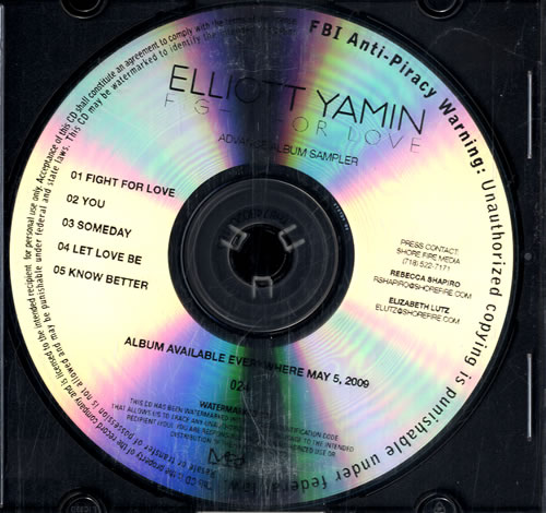 Elliott Yamin Fight For Love - Album Sampler CD-R acetate US ED4CRFI477759