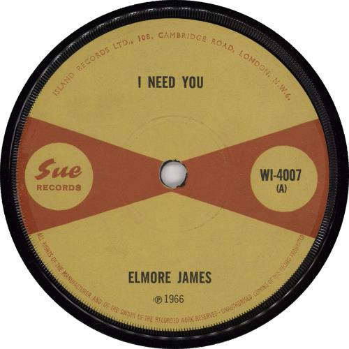 "Elmore James I Need You 7"" vinyl single (7 inch record) UK EMJ07IN450176"