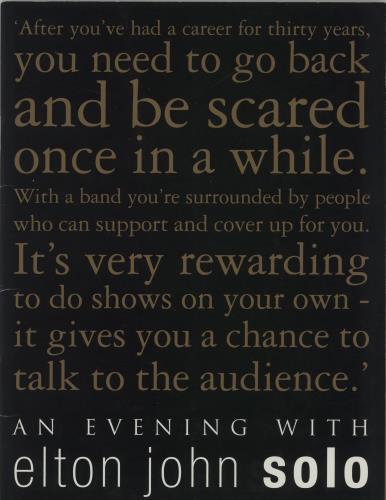 Elton John An Evening With Elton John Solo + Ticket Stub tour programme UK JOHTRAN663111