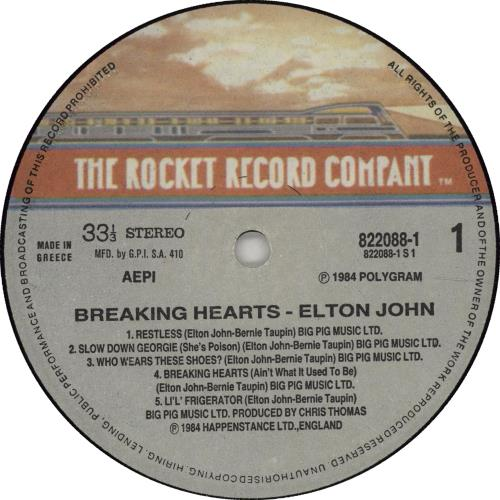 Elton John Breaking Hearts vinyl LP album (LP record) Greek JOHLPBR670638