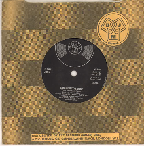 "Elton John Candle In The Wind - Silver Logo 7"" vinyl single (7 inch record) UK JOH07CA638989"