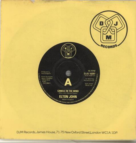 "Elton John Candle In The Wind 7"" vinyl single (7 inch record) UK JOH07CA406601"