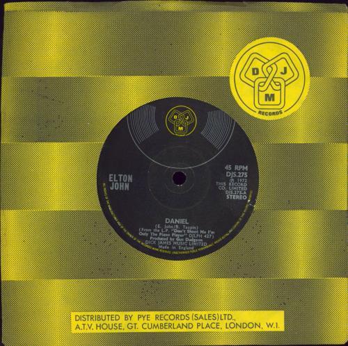 "Elton John Daniel - Translucent Vinyl 7"" vinyl single (7 inch record) UK JOH07DA770083"