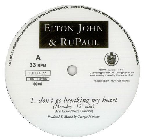"""Elton John Don't Go Breaking My Heart 12"""" vinyl single (12 inch record / Maxi-single) UK JOH12DO26438"""