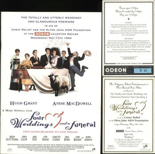 Elton John Four Weddings The Funeral Invitations Uk Tour Programme 731827 Programme And Ticket