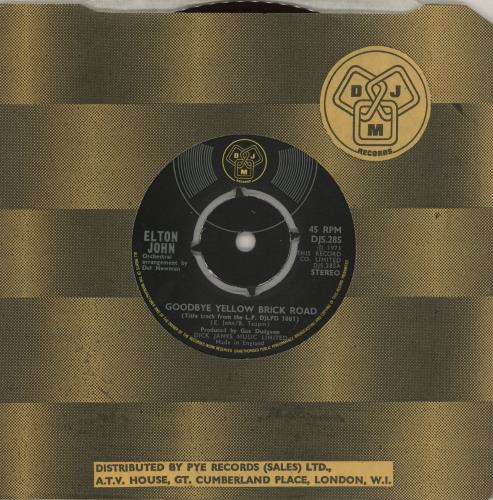 "Elton John Goodbye Yellow Brick Road - 4pr - Red vinyl 7"" vinyl single (7 inch record) UK JOH07GO758702"