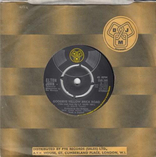 "Elton John Goodbye Yellow Brick Road - 4pr 7"" vinyl single (7 inch record) UK JOH07GO496888"