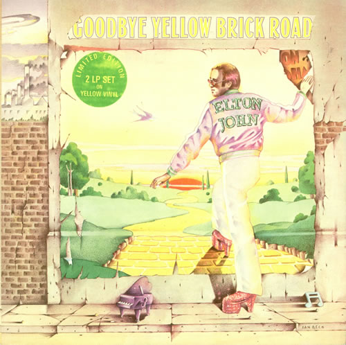 Elton John Goodbye Yellow Brick Road - Yellow + Sticker 2-LP vinyl record set (Double Album) UK JOH2LGO51121