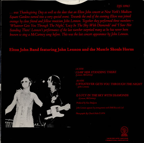 """Elton John I Saw Her Standing There 7"""" vinyl single (7 inch record) UK JOH07IS87666"""