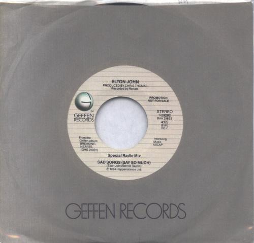 "Elton John Sad Songs (Say So Much) - Special Radio Mix 7"" vinyl single (7 inch record) US JOH07SA383628"
