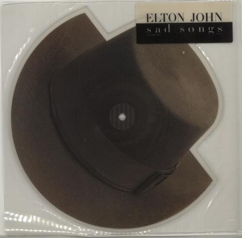 Elton John Sad Songs - stickered sleeve shaped picture disc (picture disc vinyl record) UK JOHSHSA674906