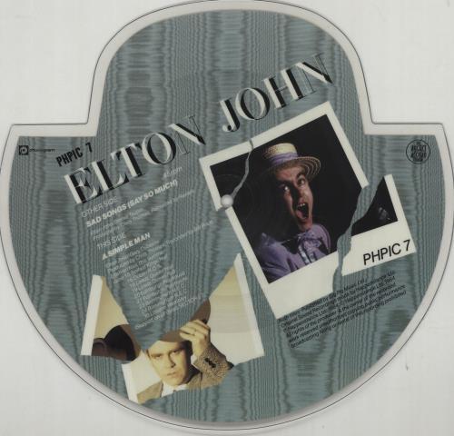 Elton John Sad Songs shaped picture disc (picture disc vinyl record) UK JOHSHSA663824