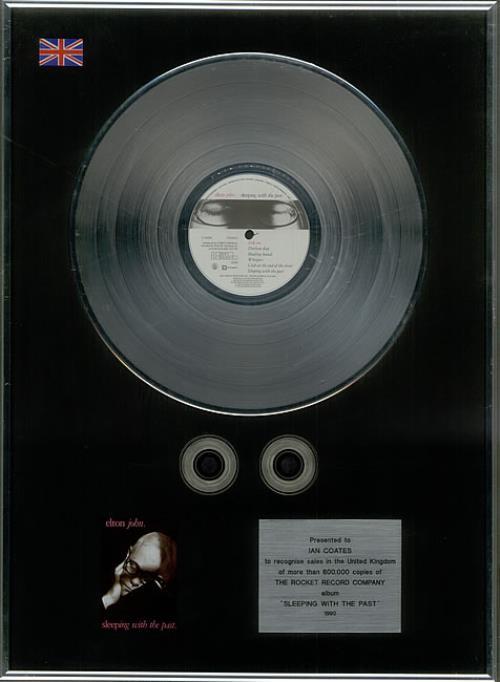 Elton John Sleeping With The Past - 2 x Platinum in-house award disc UK JOHAISL91510