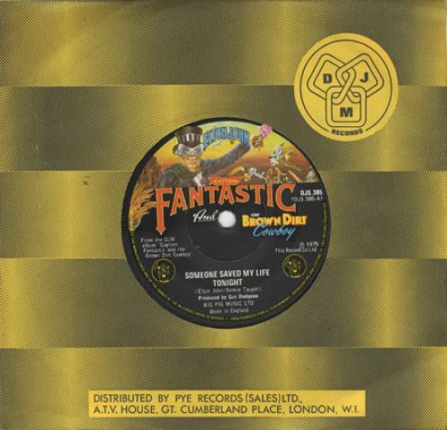 "Elton John Someone Saved My Life Tonight 7"" vinyl single (7 inch record) UK JOH07SO406603"