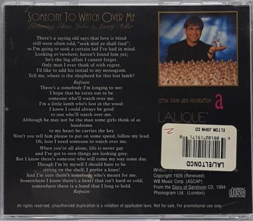 """Elton John Someone To Watch Over Me - Lalique CD single (CD5 / 5"""") US JOHC5SO104840"""