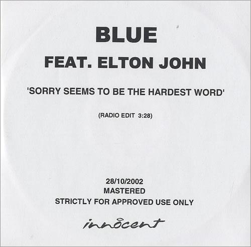 Elton John Sorry Seems To Be The Hardest Word UK Promo CD-R acetate