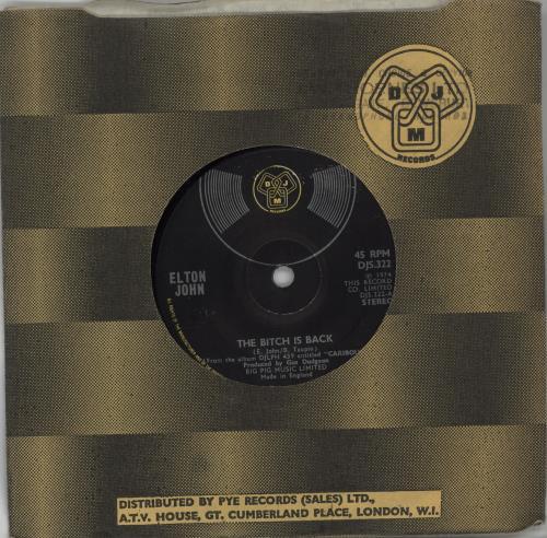 "Elton John The Bitch Is Back - solid 7"" vinyl single (7 inch record) UK JOH07TH662673"
