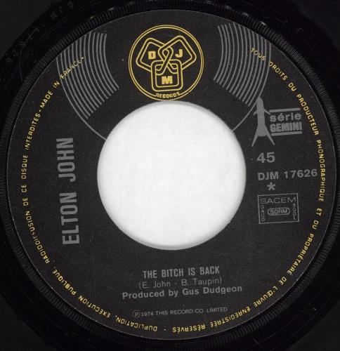 "Elton John The Bitch Is Back 7"" vinyl single (7 inch record) French JOH07TH498296"