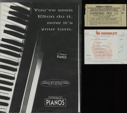 Elton John The World - 1989-90 + Ticket Stub, Poster & Badge tour programme UK JOHTRTH756674