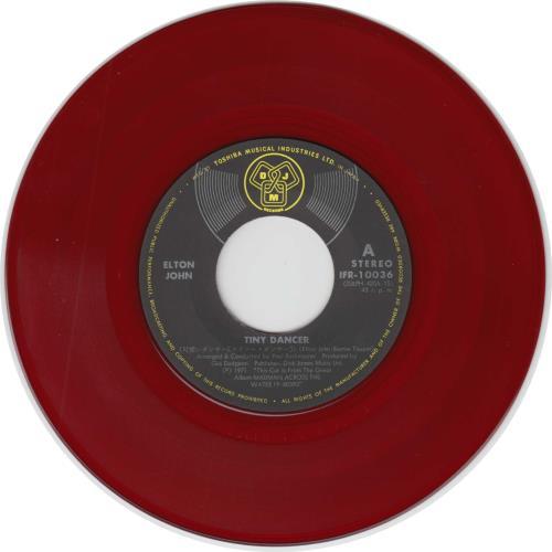 "Elton John Tiny Dancer - Red Vinyl 7"" vinyl single (7 inch record) Japanese JOH07TI498333"