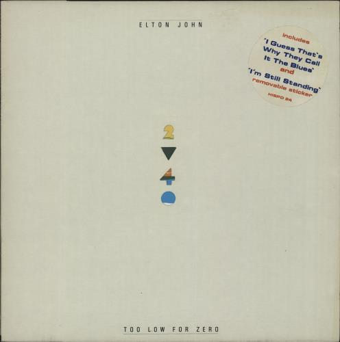 Elton John Too Low For Zero - 1st + Sticker vinyl LP album (LP record) UK JOHLPTO662658