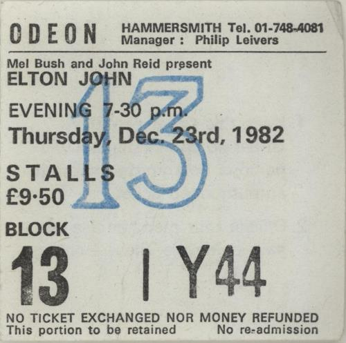 Elton John Xmas At The Odeon + ticket stub tour programme UK JOHTRXM91498