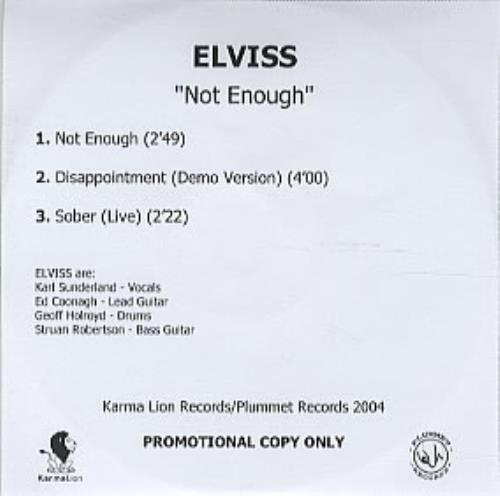 Elviss Not Enough CD-R acetate UK LVICRNO306926