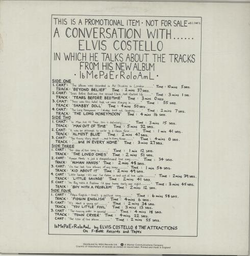 Elvis Costello A Conversation With Elvis Costello vinyl LP album (LP record) US COSLPAC530631