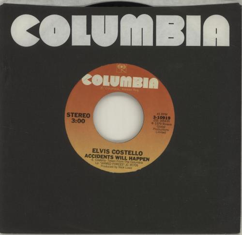 "Elvis Costello Accidents Will Happen 7"" vinyl single (7 inch record) US COS07AC685928"