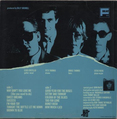 Elvis Costello Almost Blue - B/T P/S - Song Hype Stickered vinyl LP album (LP record) UK COSLPAL293187