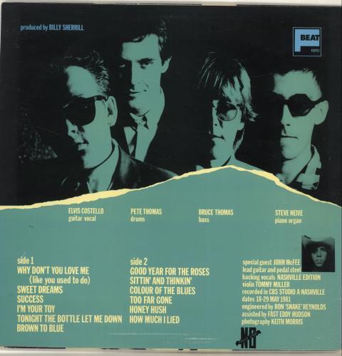 Elvis Costello Almost Blue - Y/G P/S - Stickered vinyl LP album (LP record) UK COSLPAL696310