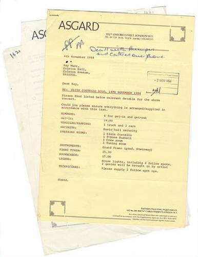 Elvis Costello Concert Invoice & Performance Statement memorabilia UK COSMMCO378739