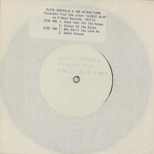"""Elvis Costello Excerpts From Almost Blue 7"""" vinyl single (7 inch record) UK COS07EX114836"""