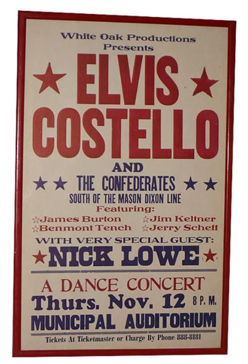 Elvis Costello Framed Concert Poster memorabilia US COSMMFR433689