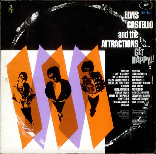 Elvis Costello Get Happy + Poster/hype sticker vinyl LP album (LP record) UK COSLPGE287925