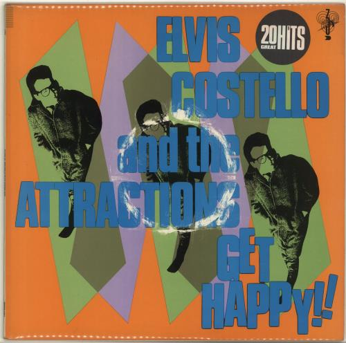 Elvis Costello Get Happy - Stickered Sleeve + Poster - EX vinyl LP album (LP record) UK COSLPGE692757