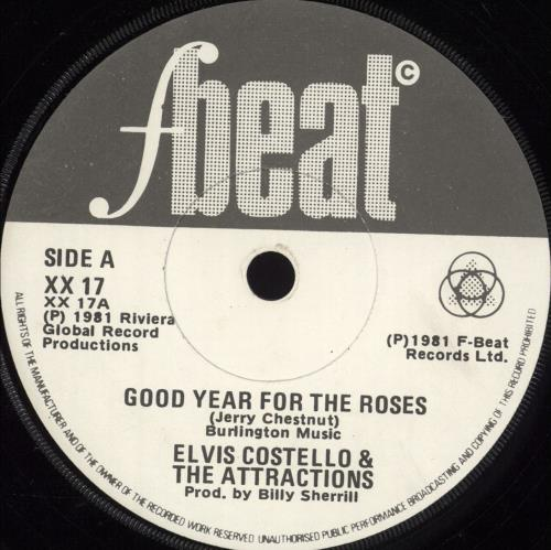 "Elvis Costello Good Year For The Roses 7"" vinyl single (7 inch record) Irish COS07GO702760"