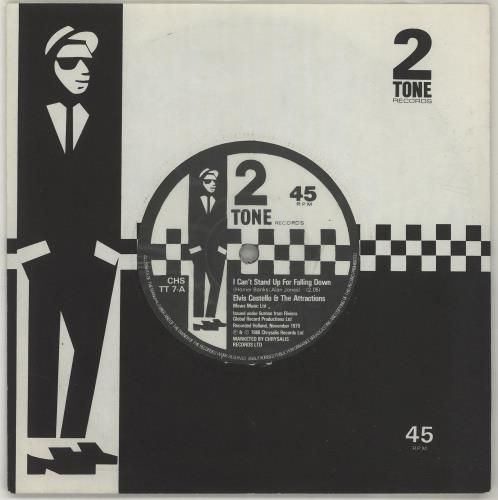 """Elvis Costello I Can't Stand Up For Falling Down 7"""" vinyl single (7 inch record) UK COS07IC34663"""