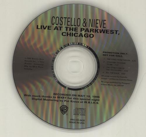 """Elvis Costello Live At The Park West, Chicago CD single (CD5 / 5"""") US COSC5LI87514"""