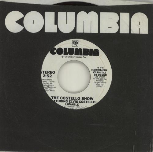 "Elvis Costello Lovable - White Label 7"" vinyl single (7 inch record) US COS07LO685937"