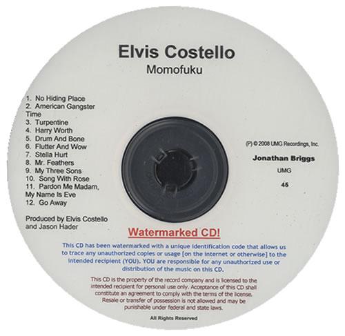 Elvis Costello Momofuku CD-R acetate US COSCRMO440041