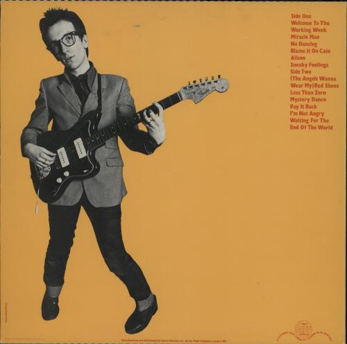 Elvis Costello My Aim Is True - Unlaminated Orange back vinyl LP album (LP record) UK COSLPMY763022